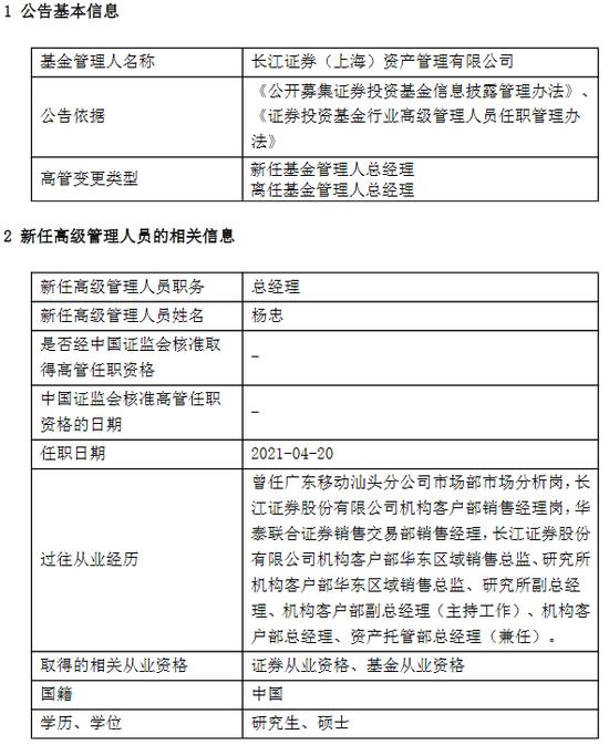 长江证券资管唐吟波因个人原因离任 新任杨忠为总经理