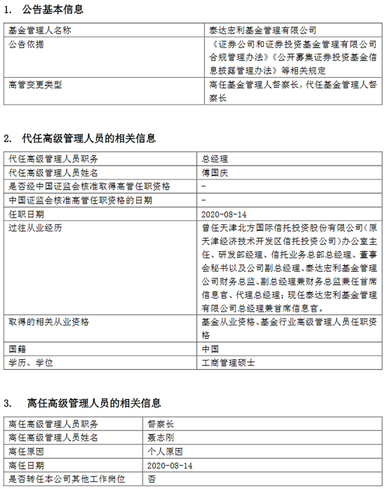 泰达宏利基金聂志刚离任 由总经理傅国庆代任督查长职务