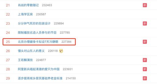 北京办理健身卡拟设7天冷静期 网友:抑制冲动消费