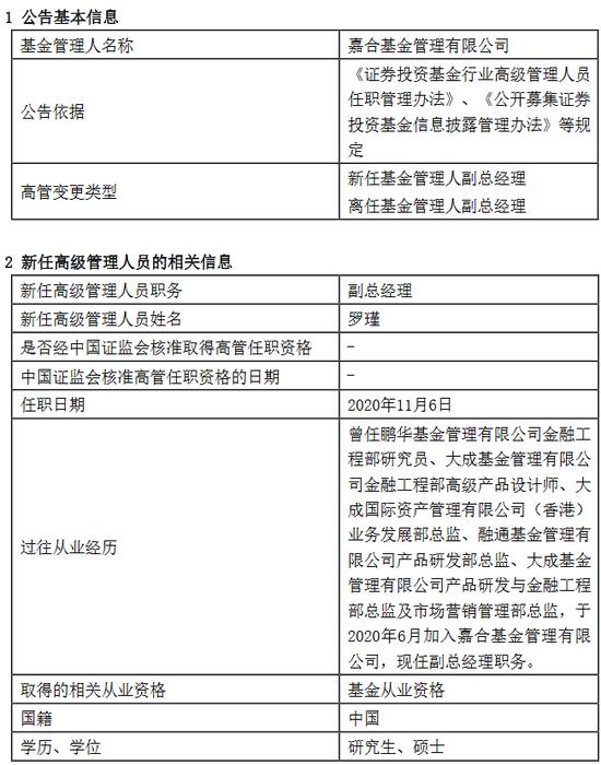 嘉合基金高明因个人原因离任 新任罗瑾为副总经理