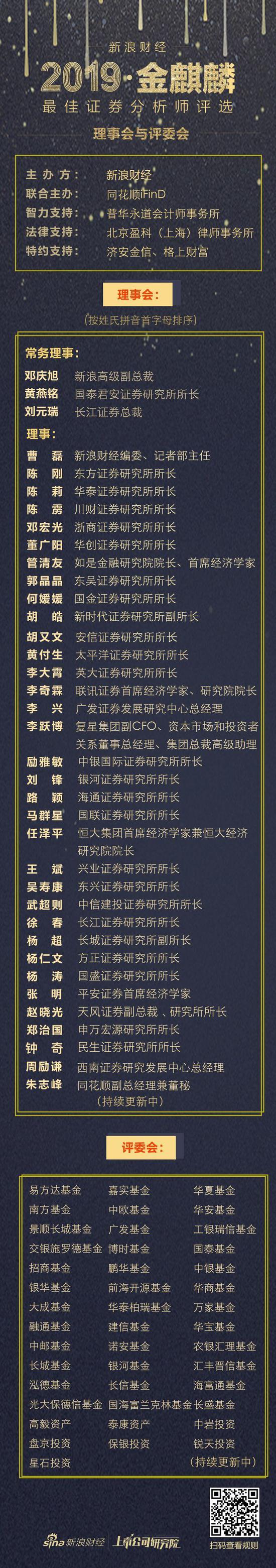 新浪财经2019金麒麟最佳证券分析师评选理事会评委会