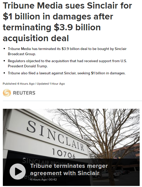 Tribune终止与Sinclair的收购协议 此前被特朗普支持