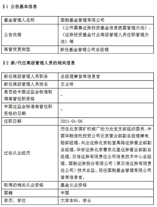 国融基金新任王占祥为总经理兼任首席信息官