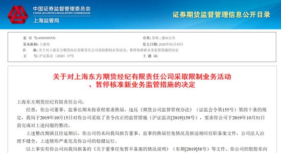 东方期货遭上海证监局处罚!因董事监事长期未按章程换届