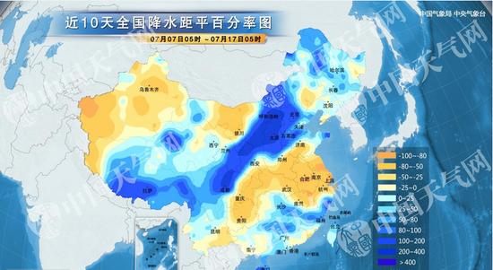 中国气象网近期降水量距平