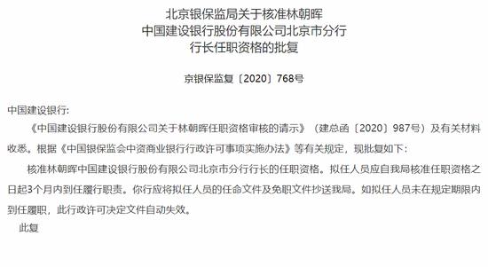 北京银保监局:核准林朝晖担任建行北京市分行行长