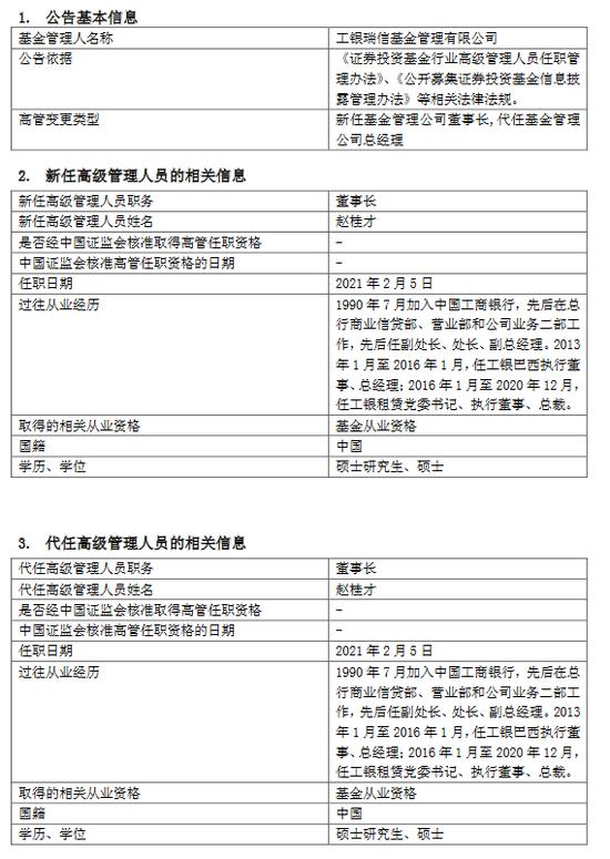 工银瑞信基金发布高管变更公告 赵桂才任董事长