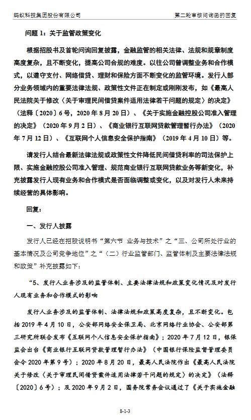 蚂蚁集团回复问询函:民间借贷规定等可能增加公司合规成本