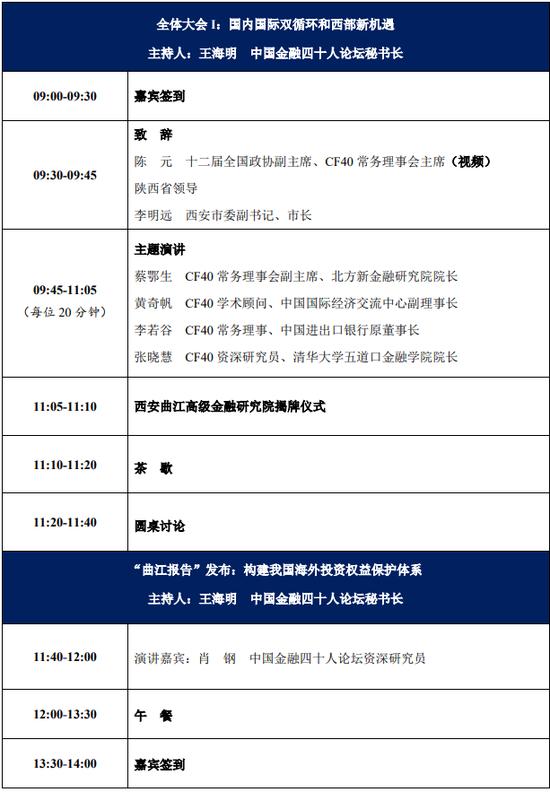 首届中国金融四十人曲江论坛将于9月12日在西安举行(附议程)