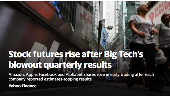 美股盘前:科技巨头财报靓丽 纳指期货涨1.1%