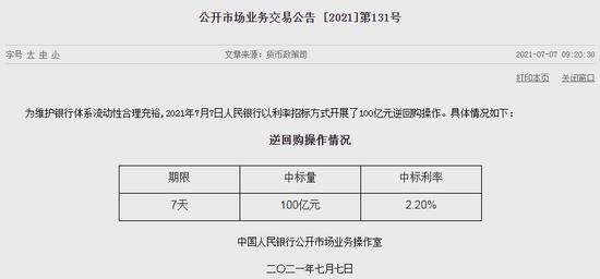 7月7日央行将进行100亿元逆回购操作 净回笼200亿元