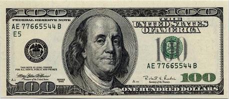 图(9)面值为100的美元纸币