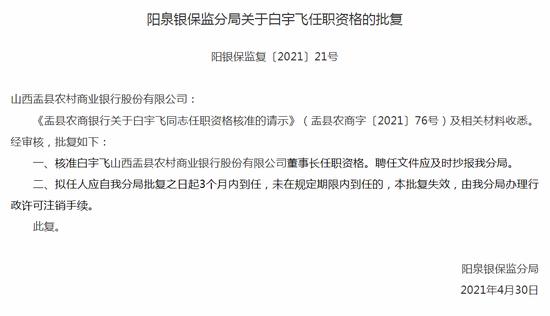 银保监会:核准白宇飞山西盂县农商行董事长任职资格