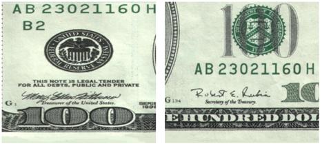 图(10) 面值为100的美元纸币细节图