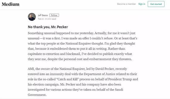 """貝索斯在Medium上發佈博客,詳述自己遭到""""National Enquirer""""的敲詐勒索經歷"""