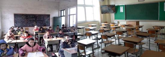 图7-1之前的教室与配备多媒体设备的现代教室