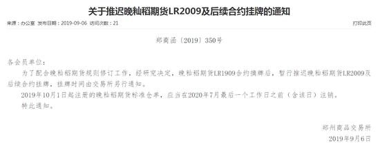 郑商所:暂行推迟晚籼稻期货LR2009及后续合约挂牌
