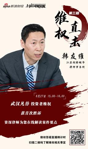 武汉凡谷股民维权首胜诉 韩友维律师8月27日在线解读
