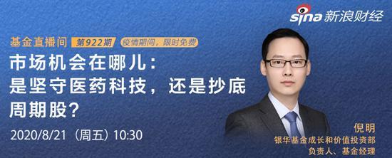 8月21日李迅雷、博时、南方、嘉实、华安、银华、交银基金等直播