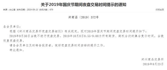 关于2019年国庆节期间夜盘交易时间提示的通知