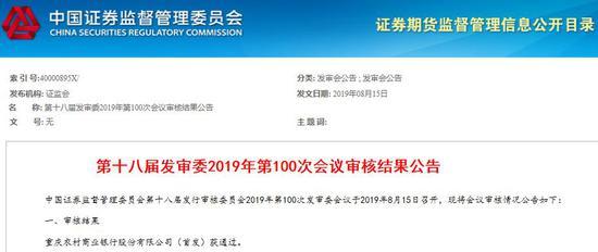 万亿资产重庆农商行IPO成功过会 为全国最大农商行_绵阳网赚论坛