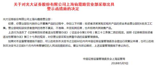 光大证券一营业部违规代销非公募家居软文产品 被证监局警示