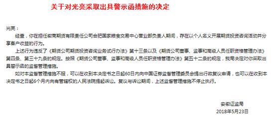 徽商期货光亮以个人名义开展期货投资咨询 被警示