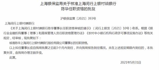 陈华获批任职上海闵行上银村镇银行董事长