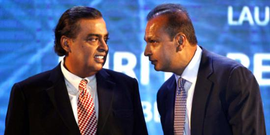 印度首富穆克什-安巴尼与兄弟阿尼尔-安巴尼