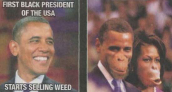 当时嘲笑奥巴马总统的种族主义描绘