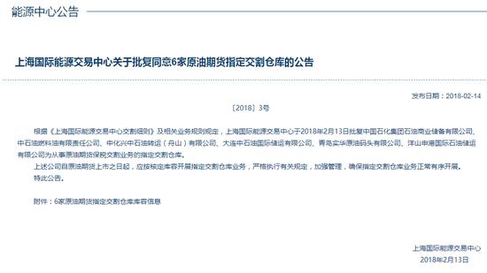 上海国际能源交易中心同意6家原油期货指定交割