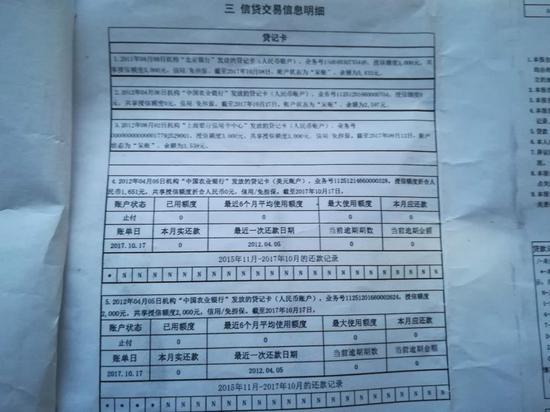 王先生的征信记录
