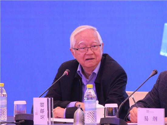 吴敬琏发言时竖起了自己的桌签