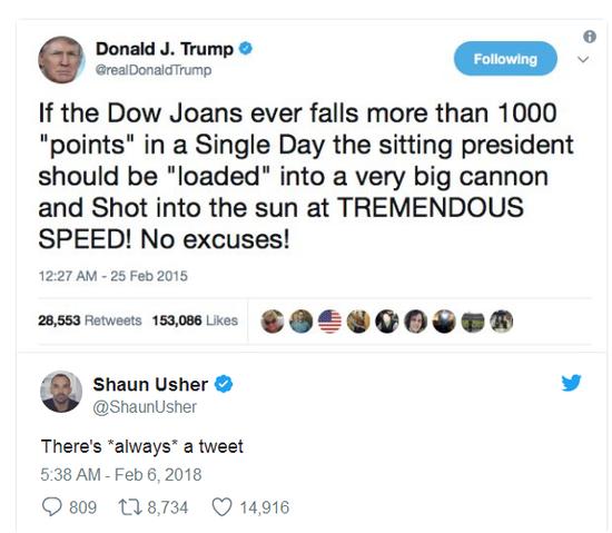 假冒特朗普推特引爆社交网络:股市大跌总统该被炮决