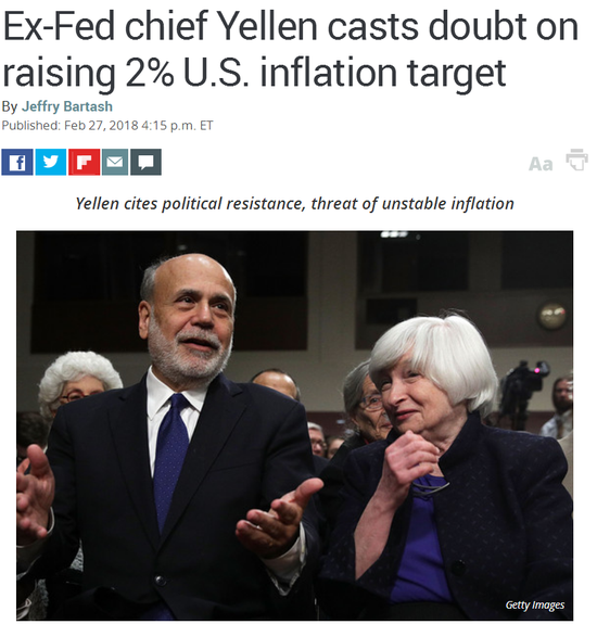外媒头条:前美联储主席耶伦质疑上调通胀目标举