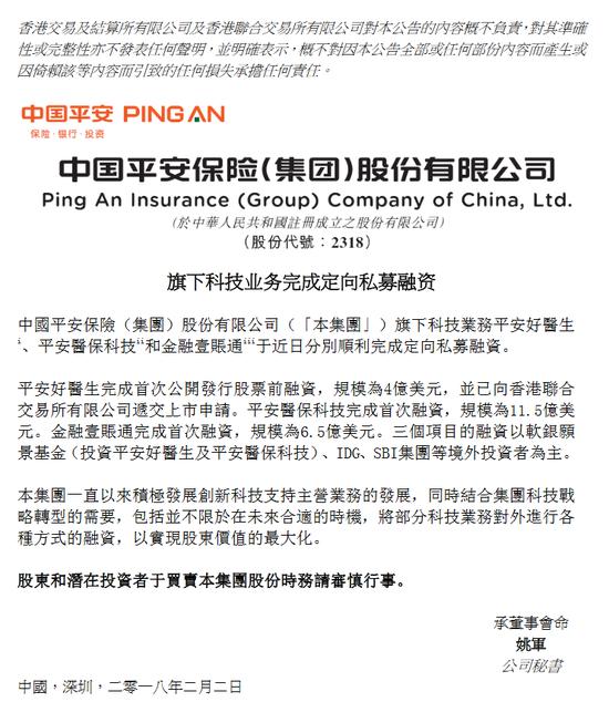中国平安:平安好医生等3项目已完成共