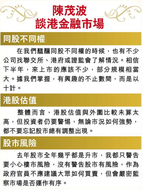 陈茂波:同股不同权落实在望 逾10家新经济