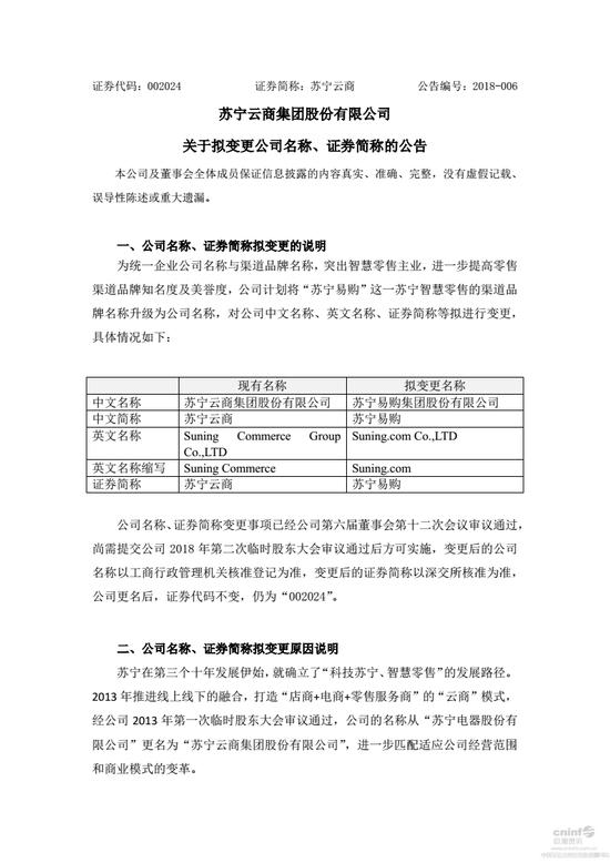 """苏宁云商拟更名为""""苏宁易购"""",证券代码不变"""