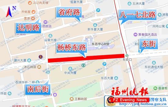 13日凌晨杨桥东路临时交通管制示意图。