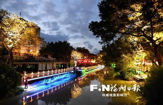 福州白马河1.7公里夜游示范段 月底展新颜