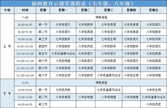 家长注意!3月2日 福州教育云课堂开通(附课程表)
