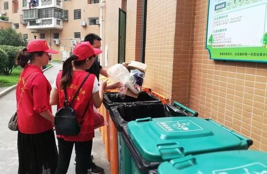 ▲金尚社区书院开展垃圾分类督导志愿服务活动