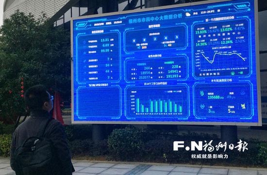 市民通过政务数据电子屏了解排队情况。