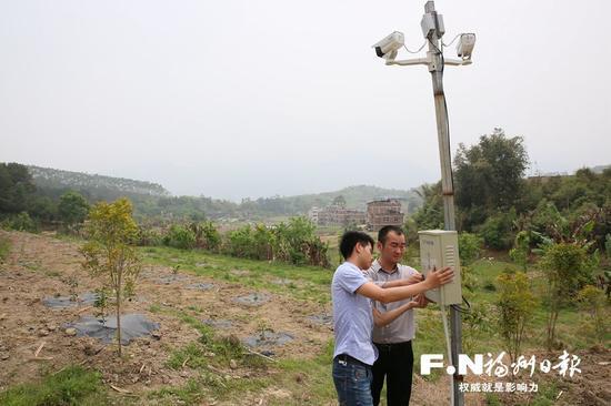 有伦公司南坑村的农业基地正完善物联网监控系统。