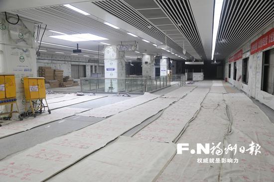 上洋站正在进行装修扫尾。