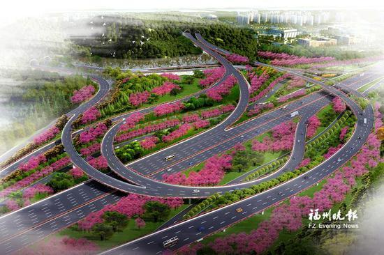 """福州""""最美园中互通""""基本建成 面积相当于21个足球场"""