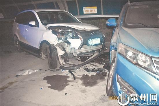 """晋江一男子醉驾开起""""碰碰车"""" 短短10米连撞7部车"""
