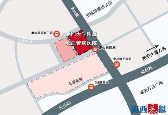 厦门大学心血管病医院五缘湾新址地址示意图。
