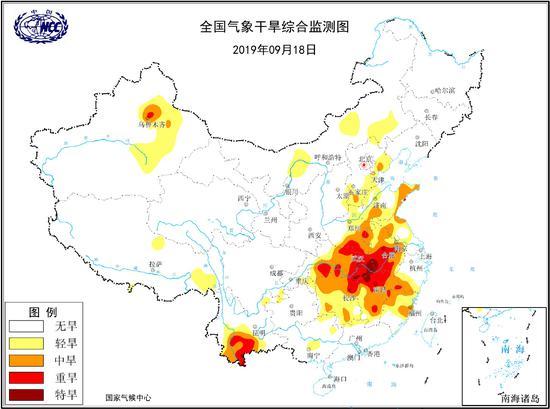 国家气候中心的干旱监测显示,河南湖北湖南江西安徽等省已有旱情;