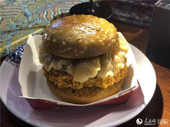 寿山石雕 汉堡(记者贾文婷 摄)